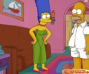 manga The Simpsons- Lustful Homer and Marge, threesome , incest  family